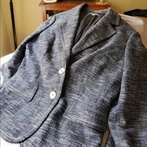 Ann Taylor blue and white Tweed Jacket.